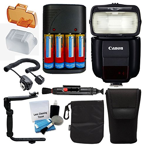 Canon Speedlite 430EX III-RT フラッシュ for Canon DSLR Cameras with アルティメイト バンドル - インクルーズ: フラッシュ Diffuser + Charger & 4x Rechargeable Batteries + フラッシュ Bracket + Cleaning ペン + 5 ピース Cleaning キット 「汎用品」(海外取寄せ品)