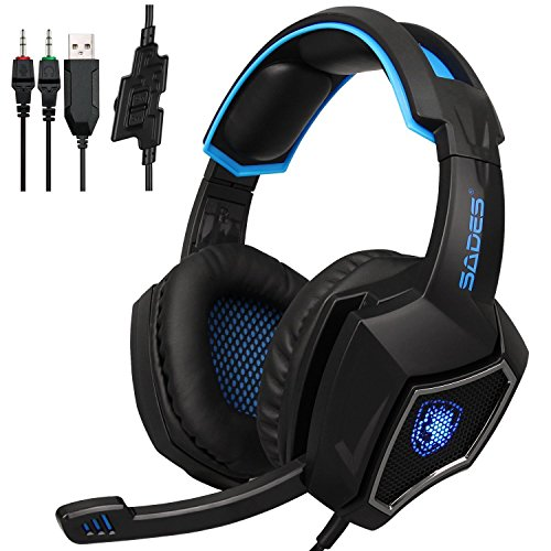 Sades SPIRITWOLF 3.5mm Version PC オーバー-Ear ステレオ Gaming ヘッドセット ヘッドバンド Headphones with Mic, Noise Reduction, Volume Control, LED Light For コンピューター Gamers(Black Blue) 『海外取寄せ品』