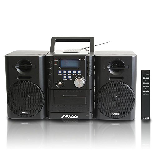 AXESS MS3912 ミニ エンターテインメント System with AM/FM, USB, CD, MP3 プレーヤー & Cassette Recorder With Headphone and Aux ジャック 「汎用品」(海外取寄せ品)