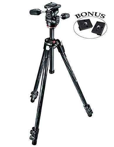 Manfrotto MK290XTC3-3WUS 290 Xtra カーボン 3-ウェイ Head キット (Black) and Two ZAYKiR RC2 クイック リリース プレート (海外取寄せ品)