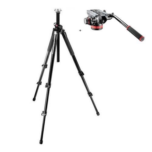 Manfrotto 055XPROB ブラック Aluminum Tripod with Manfrotto MVH502AH プロ ビデオ Head with クイック-リリース and Flat Base (海外取寄せ品)
