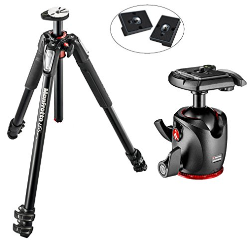 Manfrotto MT055XPRO3 055 アルミニウム 3-Section Tripod キット with MHXPRO-BHQ2 XPRO Magnesium Ball Head with Two リプレイスメント クイック リリース プレート for the RC2 Rapid Connect Adapter (海外取寄せ品)