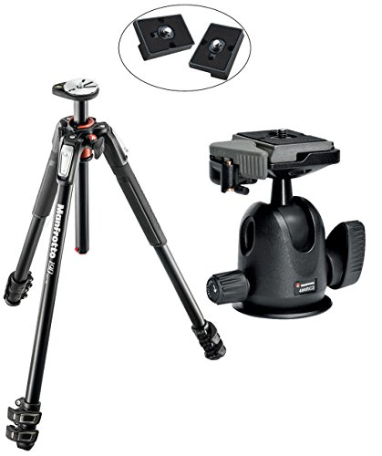 Manfrotto MT190XPRO3 3 Section Aluminum Tripod キット w/ 496RC2 Compact Ball Head with クイック リリース プレート with Two リプレイスメント クイック リリース プレート for the RC2 Rapid Connect Adapter (海外取寄せ品)