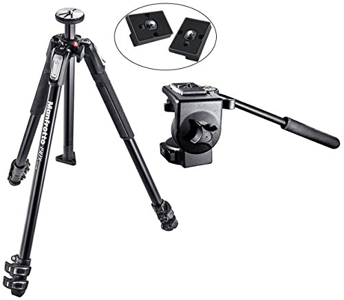 Manfrotto MT190X3 3 Section Aluminum Tripod and 128RC Micro Fluid ビデオ Head with Two リプレイスメント クイック リリース プレート for the RC2 Rapid Connect Adapter (海外取寄せ品)