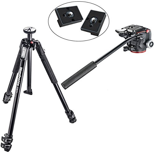 Manfrotto MT190X3 3 Section Aluminum Tripod w/ XPRO Fluid Head with Fluidity Selector Plus Two ボーナス リプレイスメント クイック リリース プレート for the RC2 Rapid Connect Adapter (海外取寄せ品)