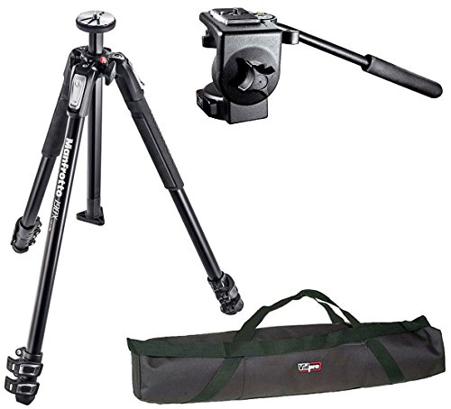 Manfrotto MT190X3 3 Section Aluminum Tripod and 128RC Micro Fluid ビデオ Head And a 35