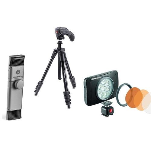 Manfrotto Smartphone Photography キット - インクルーズ Manfrotto 5-Section Compact アクション Aluminum Tripod ブラック, Manfrotto TwistGrip ユニバーサル SmartPhone Clamp, Manfrotto Lumie Muse LED Light (海外取寄せ品)