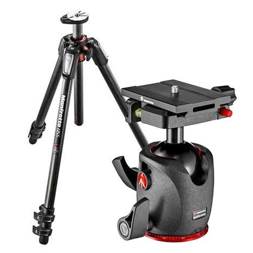 Manfrotto MT055CXPRO3 カーボン ファイバー 3 Sections Tripod バンドル With Manfrotto MHXPRO-BHQ6 QR Ball Head (海外取寄せ品)