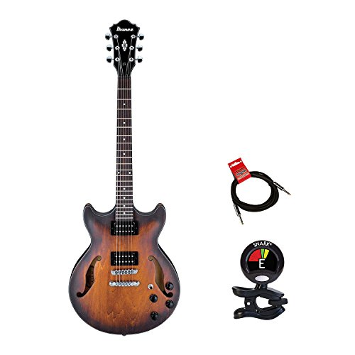 Ibanez AM73B Electric Guitar キット With Clip On Guitar Tuner and Guitars ケーブル (Electric Guitar Bundle) in Flat タバコ (海外取寄せ品)