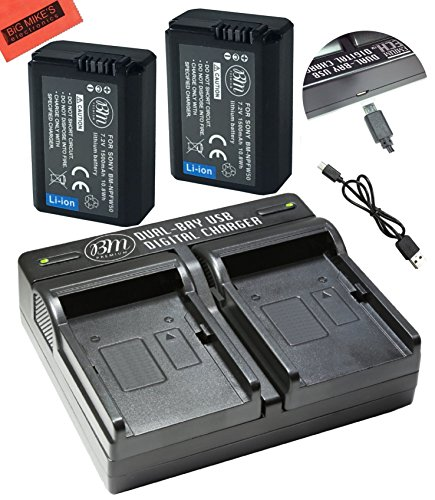 BM プレミアム 2 NP-FW50 Batteries and デュアル Charger for ソニー DSC-RX10 IV, DSC-RX10 III, DSC-RX10 II, DSC-RX10, Alpha 7, Alpha 7R, a7, a7R, A7s, A7s II, a3000, a5000, a6000, a6300, a6500 デジタル Cameras 「汎用品」(海外取寄せ品)