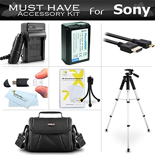 Essential Accessories キット For ソニー Alpha a6000, a6300, a5000, Alpha 7, a7, a7K, a7R インターチェンジ レンズ SLR Camera インクルーズ リプレイスメント NP-FW50 バッテリー + AC/DC Charger + ケース + 57 Tripod + More 「汎用品」(海外取寄せ品)