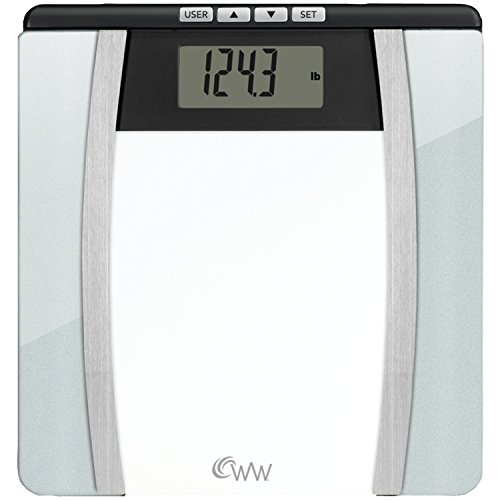 Weight Watchers by Conair Body Analysis ガラス Bathroom Scale; Measures Body ファット, Body ウォーター, BMI, ボーン Mass; 4 User Memory; 400 lb. capacity; WW バース Scale; ブラック / クローム 「汎用品」(海外取寄せ品)