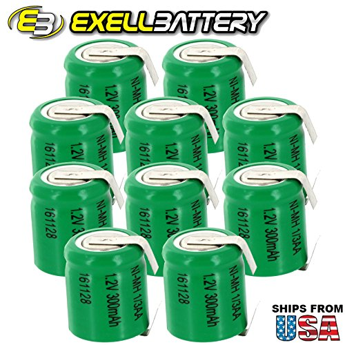 10x Exell 1/3AA サイズ 1.2V 300mAh NiMH Rechargeable Batteries w/ Tabs use with electric razors toothbrushes ハイ power スタティック applications (Telecoms UPS & スマート grid) electric tools electric mopeds 「汎用品」(海外取寄せ品)