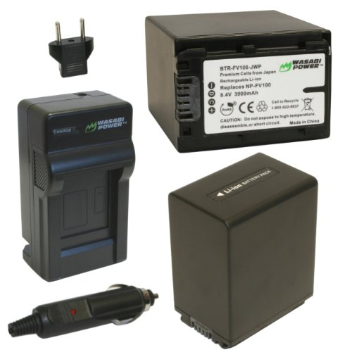 Wasabi Power バッテリー (2-Pack) and Charger for ソニー NP-FV100 and ソニー DCR-SR15, SR21, SR68, SR88, SX15, SX21, SX44, SX45, SX63, SX65, SX83, SX85, FDR-AX100, HDR-CX105, CX110, CX115, CX130, CX150, CX155, CX160, CX190, CX200 「汎用品」(海外取寄せ品)