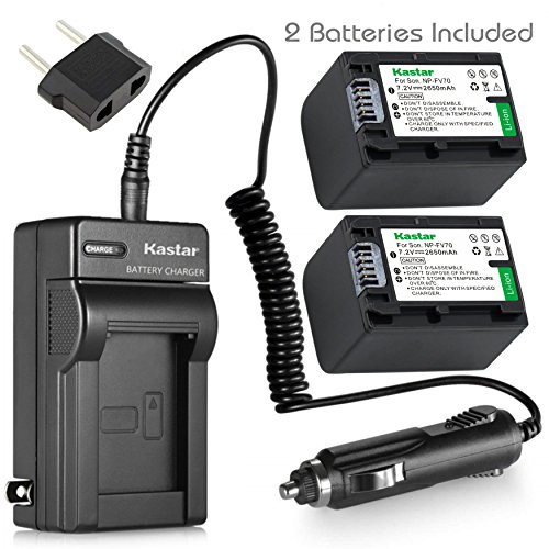 Kastar NPFH70 バッテリー (2-Pack) + Charger for ソニー NP-FH100, FH60, FH70, NP-FH90, TRV and ソニー DCR-DVD405 407E 408 410E 450 602E 650E DCR-HC96 DCR-SR85 HDR-HC9 HDR-UX20 HDR-SR12 DCR-SR65E XR500E etc. 「汎用品」(海外取寄せ品)
