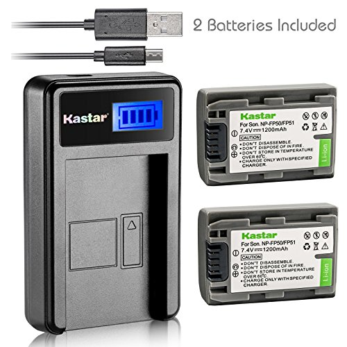 Kastar バッテリー (X2) & LCD スリム USB Charger for ソニー NP-FP51 NP-FP50 and DCR-30 DVD105 DVD203 DVD305 DVD92 HC20 HC21 HC26 HC30 HC32 HC36 HC40 HC42 HC46 HC65 HC85 HC96 SR40 SR60 SR80 SR100 TRV460E 「汎用品」(海外取寄せ品)