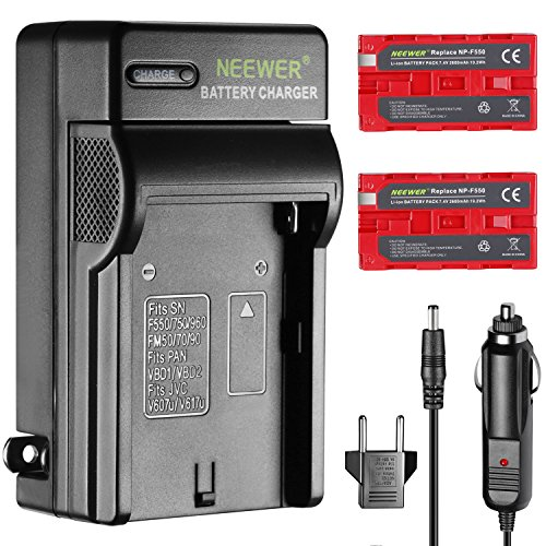 Neewer 2-パック 2600mAh Rechargeable Li-イオン バッテリー ソニー NP-F550 リプレイスメント and AC ウォール Charger for ソニー HandyCams Neewer CN-160 CN-216 LED Light,モニター and others Use NP-F550/970 Batteries 「汎用品」(海外取寄せ品)