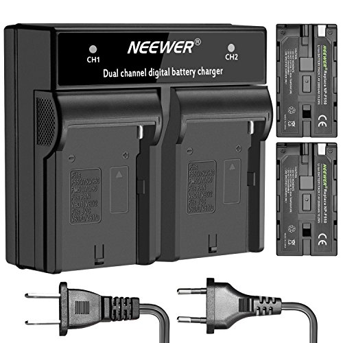 Neewer 2-パック 2600mAh Rechargeable Li-イオン バッテリー ソニー NP-F550/570/530 リプレイスメント and デュアル Charger with US/EU Plug セット for ソニー CCD-SC55,TR516,TR716,TR818,TR910,TR917 Cameras, LED Light and モニター 「汎用品」(海外取寄せ品)