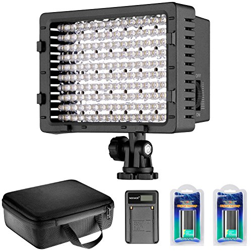 Neewer CN-160 LED Dimmable Ultra ハイ Power Panel ビデオ Light キット: CN-160 LED Light,(2)2600 mAh バッテリー, USB バッテリー Charger and Carrying ケース for Canon, Nikon, Pentax, ソニー DSLR Cameras,DV Camcorders 「汎用品」(海外取寄せ品)