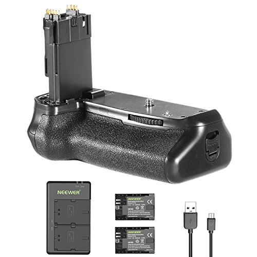 Neewer バッテリー Grip Holder (Replacement Grip for Canon BG-E14) and 2 ピース 2000mAh LP-E6 LP-E6N リプレイスメント バッテリー with Micro USB Input デュアル Charger for Canon EOS 70D 80D Camera DSLR 「汎用品」(海外取寄せ品)