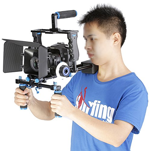 Neewer Aluminum Film ムービー キット System Rig for Canon/Nikon/Pentax/ソニー and other DSLR Cameras,includes:(1)Video Cage+(1)Top ハンドル Grip+(2)15mm Rod+(1)Matte Box+(1)Follow Focus+(1)Shoulder Rig 「汎用品」(海外取寄せ品)