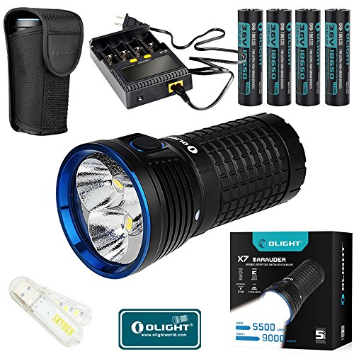 Olight X7 Marauder キット CREE XHP 70 LED 9000 ルーメン Rechargeable Flashlight With 3500mAh 18650 Rechargeable Batteries and C4 Charger With SKYBEN USB Light (Cool White) 「汎用品」(海外取寄せ品)