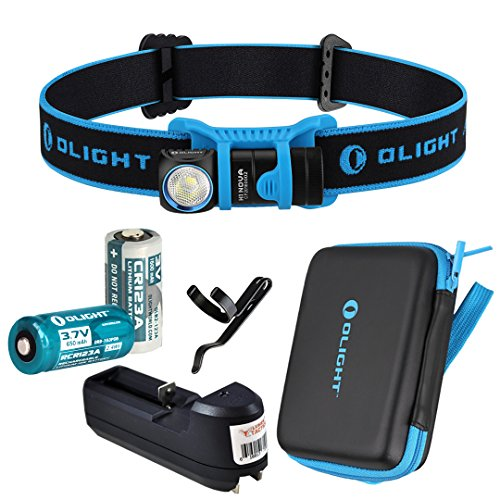 Olight H1 ノヴァ 500 ルーメン LED Headlamp w/ Olight CR123A バッテリー, Rechargeable RCR123A バッテリー and LumenTac トラベル Charger (Blue, クール White) 「汎用品」(海外取寄せ品)