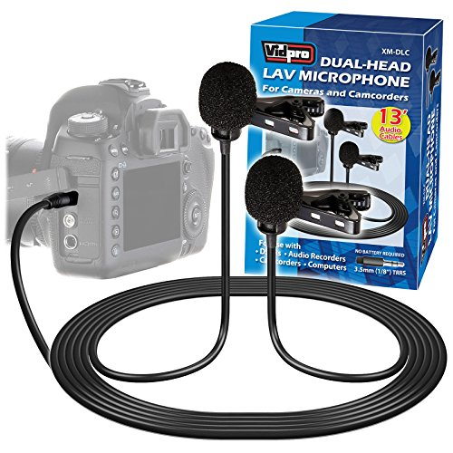 Vidpro XM-DLC デュアル-Head Interview Lavalier Microphone for DSLR Cameras & Camcorders 「汎用品」(海外取寄せ品)