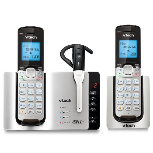 and 1 Phone Handsets DECT エクスパンダブル VTech 6.0 Cordless System, シルバー/ブラック Answering Connect with 2 ヘッドセット 「汎用品」(海外取寄せ品) with DS6671-3 Cordless ブルートゥース