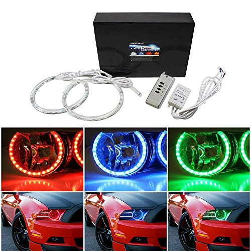 iJDMTOY v2. 7-カラー RGB LED エンジェル アイ Halo リング For 2013 2014 Ford Mustang with Wireless Remote Control (海外取寄せ品)
