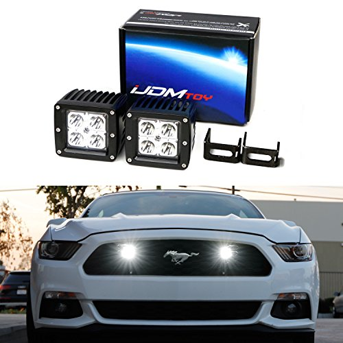 iJDMTOY Complete 40W ハイ Power CREE LED Pod Light キット w/ Behind Grille Mounting Brackets & リレー Wiring Switch For 2015-2017 Ford Mustang (海外取寄せ品)