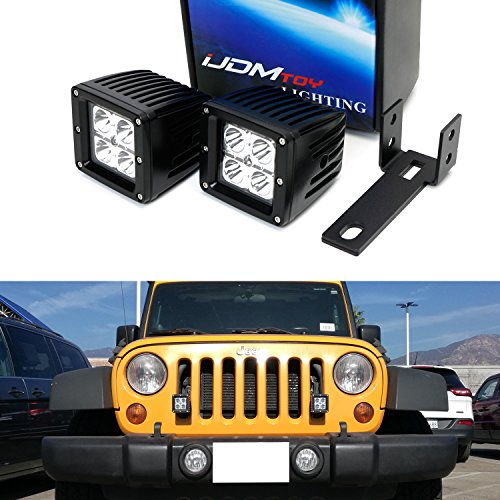 iJDMTOY Complete 40W ハイ Power CREE LED Pod Light Driving ランプ w/ フロント Grille Mounting Brackets, Wiring キット For 2007-2017 Jeep Wrangler (海外取寄せ品)