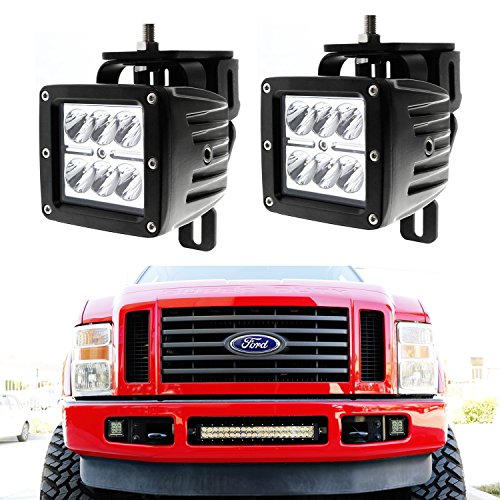 【エントリーでポイント10倍!4月30日まで】iJDMTOY (2) 24W ハイ Power Dually 2x3 LED Pod ライト w/ Fog Light Location Mounting Brackets & Wiring キット For 1999-2016 Ford F-250 F-350 F-450 Super Duty (海外取寄せ品)