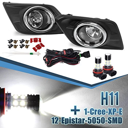 Partsam Clear Bumper Fog Light Assembly ランプ + Harness + Switch Left + Right ペア for 2014 2015 2016 Nissan Rogue + H8 H11 1-Cree-XP-E 12-Epistar-5050-SMD ハイ Power ホワイト LED Bulbs (海外取寄せ品)