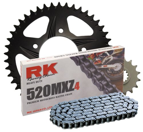 RK レーシング チェーン 1052-928ZB ブラック Aluminum Rear Sprocket and 520MXZ4 チェーン レース キット (海外取寄せ品)