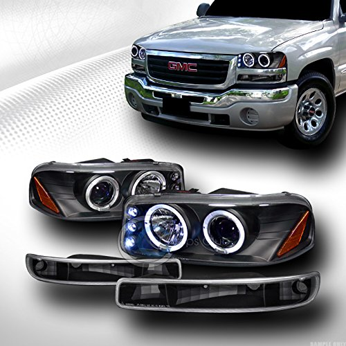 BLK HALO LED PROJECTOR HEAD LIGHTS+BUMPER SIGNAL ランプ JY 1999-2006 SIERRA YUKON (海外取寄せ品)