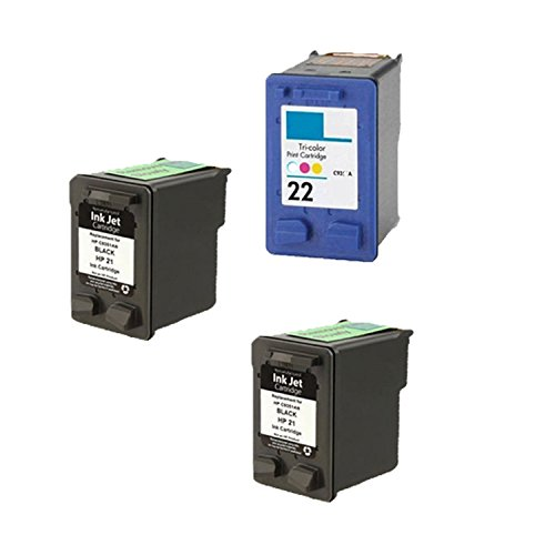 Remanufactured Ink Cartridge リプレイスメント for HP 21 ( ブラック ) and HP 22 ( カラー ) (2 ブラック 1 カラー 3 Pack) 「汎用品」(海外取寄せ品)