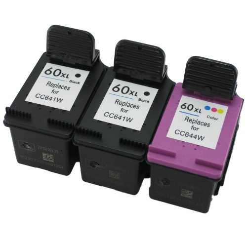 Remanufactured Ink Cartridge リプレイスメント for HP 60xl CC641WN CC644WN (2 ブラック 1 カラー 3 Pack) 「汎用品」(海外取寄せ品)