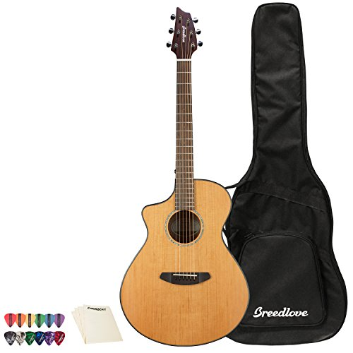Breedlove Pursuit Concert レフトハンド CE レッド Cedar-Mahogany Acoustic-Electric Guitar with ピック Sampler and ポリッシュ クロス (海外取寄せ品)