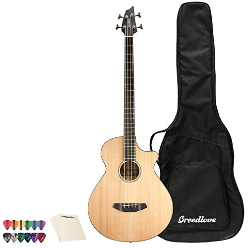 Breedlove ソロ ジャンボ Bass CE レッド Cedar-Ovangkol Acoustic-Electric Bass Guitar with ピック Sampler and ポリッシュ クロス (海外取寄せ品)