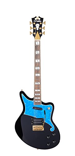 D'ANGELICO DADBEDSBKBGTR Deluxe Bedford Electric Guitar with Tremolo Tailpiece & ブルー パール Pickguard - ブラック (海外取寄せ品)