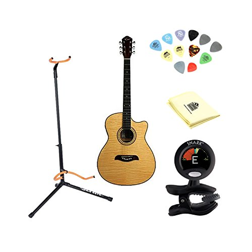 Oscar Schmidt OACEFN Acoustic-Electric Guitar - ナチュラル With Polishing クロス, Picks, Tuner, and Stand (海外取寄せ品)