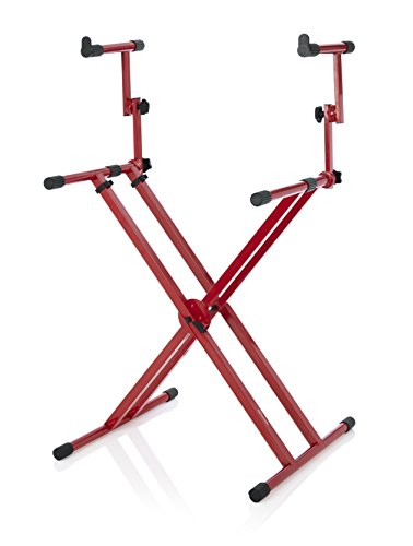 Gator Frameworks GFW-キー-5100XRED Deluxe Two Tier X スタイル Keyboard Stand, Nord レッド (海外取寄せ品)