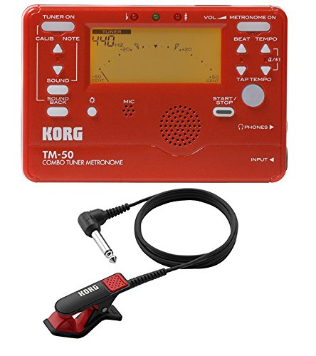 Korg TM50BK Instrument Tuner and メトロノーム w/ Clip On Microphone (Red Tuner w/ レッド Mic) (海外取寄せ品)