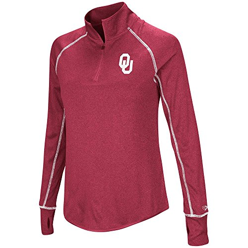 Colosseum レディース Oklahoma Sooners Quarter ジップ プル-オーバー ウインド シャツ Personalize with Your Name - S (海外取寄せ品)