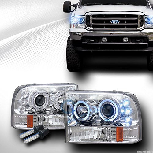 10000K HID XENON クローム LED HALO PROJECTOR HEAD ライト 1999-2004 FORD F250 F350 (海外取寄せ品)