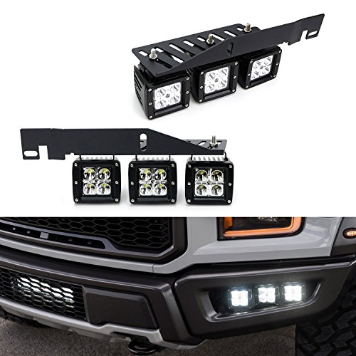 iJDMTOY Mega 120W トリプル CREE LED Fog ライト w/Lower Bumper Area Mount Brackets & On/オフ Switch リレー Wiring キット For 2017-up Ford F150 ラプター (海外取寄せ品)
