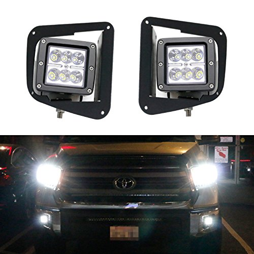 iJDMTOY (2) 24W ハイ Power Dually 2x3 LED Pod ライト w/ Fog ランプ Location Mounting Brackets & Wiring キット For 2014-up Toyota Tundra (海外取寄せ品)