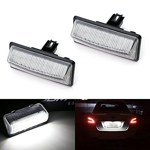 iJDMTOY (2) Xenon ホワイト OEM-Replace 18-SMD 3W LED ライセンス プレート ライト Assembly For Nissan Altima Maxima Murano パスファインダー Rogue Quest Infiniti QX56 QX60, etc (海外取寄せ品)