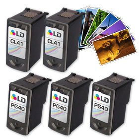 LD Canon #PG-40 & #CL-41 Remanufactured コンボ セット - 3 ブラック #PG-40 and 2 カラー #CL-41+ Free 20 パック of LD ブランド Brand 4x6 Photo ペーパー (海外取寄せ品)